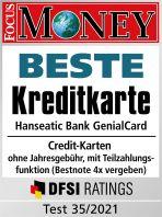 Testsiegel: Hanseatic Bank GenialCard Kreditkarte