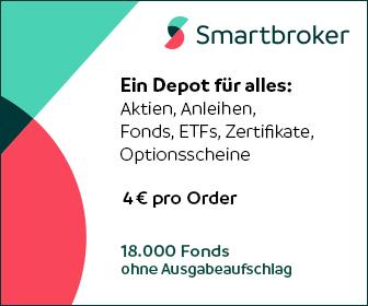 Smartbroker - Ein Depot für alles: Aktien, Anleihen, Fonds, ETFs, Zertifikate, Optionsscheine. 4 € pro Order. 18.000 Fonds ohne Ausgabeaufschlag.