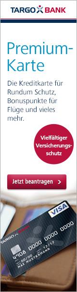Schwarze VISA-Kreditkarte von der Targobank