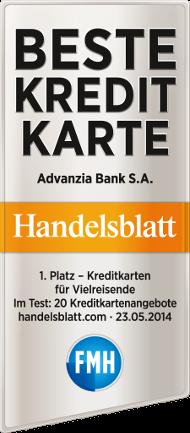 Advanzia Bank Testsiegel Handelsblatt beste Kreditkarte für Reisen