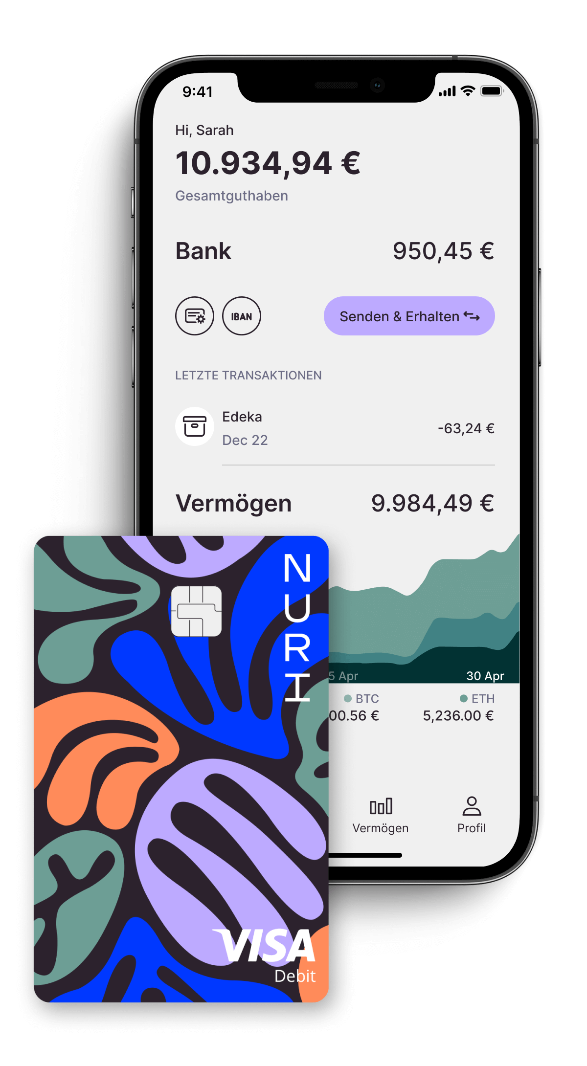 Nuri Smartphone-Konto?bersicht und VISA-Kreditkarte