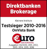 Euro am Sonntag: Onvista Bank Testsieger 2010 - 2016 Direktbanken Brokerage
